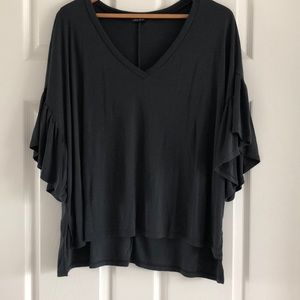 Sloutchy tee with flutter sleeves -never sworn.